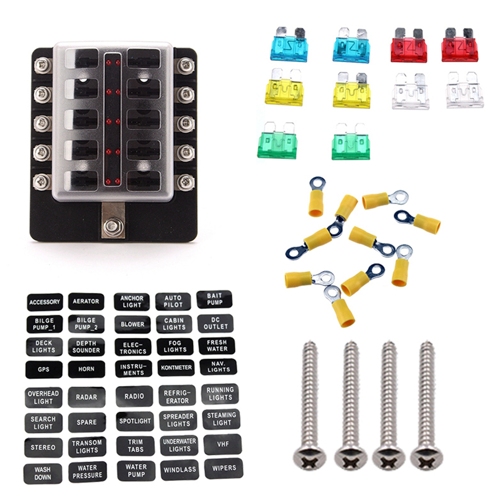 10 Way Car Blade Fuse Box Rv Truck Marine Boat Block With Positive Negative Spade Terminals Wiring Kits Led Indicator In Fuses From Automobiles Motorcycles On