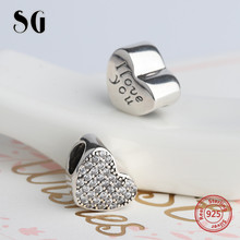 SG Charms sterling Silver 925 Original Hearts shape pandora beads stamped I love you fit bracelet Jewelry making gifts