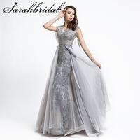 Long Elegant Woman Evening Party Dress 2019 Formal Party Dubai Gown Beaded Beading Tassel O neck With Train Prom Dresses CC5486