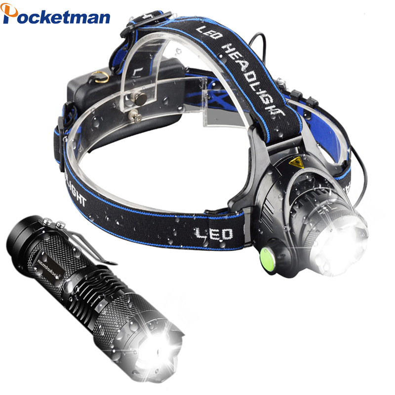 LED Frontal Headlamp 3000LM T6 18650 Head Lights Linternas Lampe + Q5 Mini LED Flashlight 2000lm Zoomable Torch Tactical