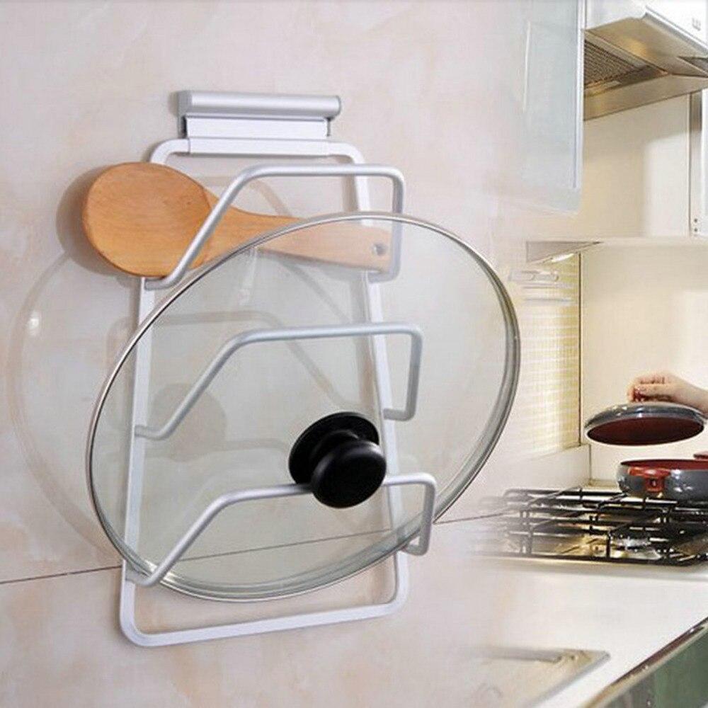 3-layers Cabinet Door Hook Pan Pot Cover Lid Rack Stand Stove Organizer Kitchen Storage Holder Rack Shelf Kitchen Accessories
