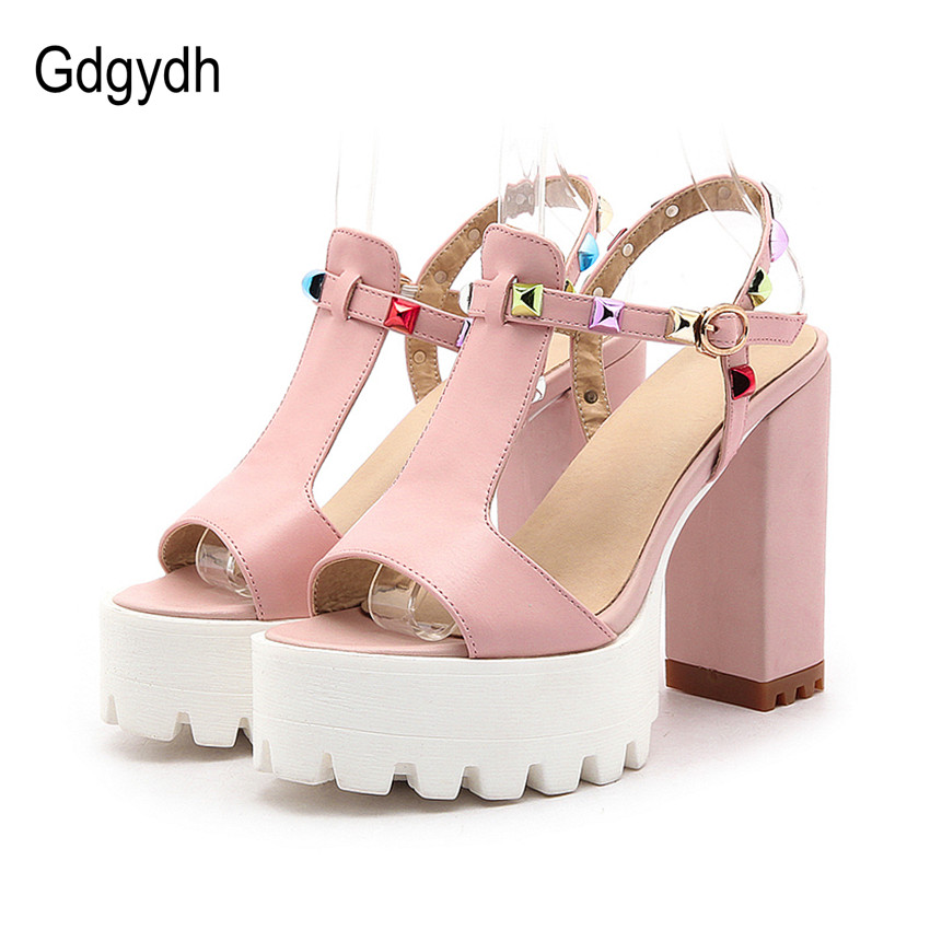 ФОТО Gdgydh 2017 Summer Colorful Rivets Women Shoes Fashion T-Strap Buckle Open Toe Female Sandals Thick High Heels 12cm Ladies Shoes