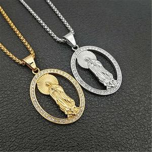 Image 2 - Хип хоп Iced Out Bling Virgin Mary золотые ожерелья и подвески Цвет Нержавеющая сталь ожерелье с Мадонной христианские ювелирные изделия XL1302