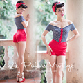 FREE SHIPPING Le Palais Vintage 2016 Summer New Arrival Sexy V Neck Blue Gray Striped Red Shorts Jumpsuits Women Clothes Rompers