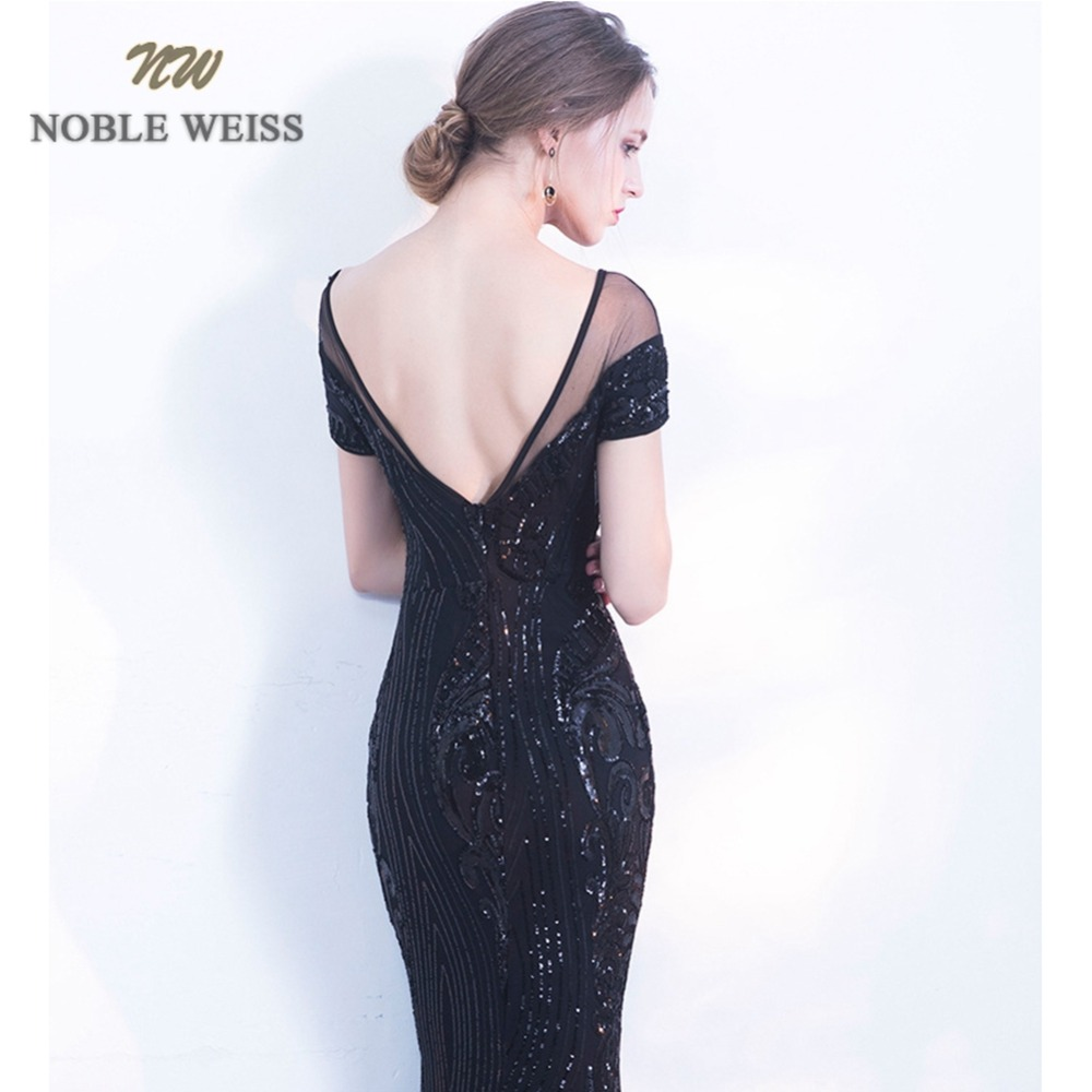 prom dresses sexy black vestido de festa longo long mermaid short sleeve o-neck sequin prom dress backless evening gown