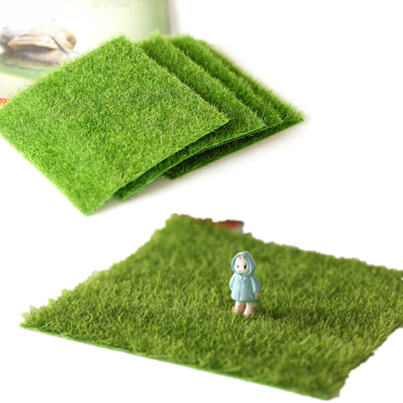 1pc 15*15CM Fake Moss Garden Furniture Courtyard Toys For Children Mini Doll House Toys Accessories Artificial Green Grass