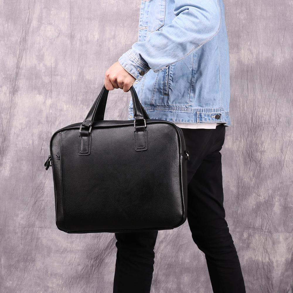 Wholesale 2019 New Fashion Genuine Leather Men Bag Famous Brand Shoulder Bag Messenger Bags Causal Handbag Laptop Briefcase Male