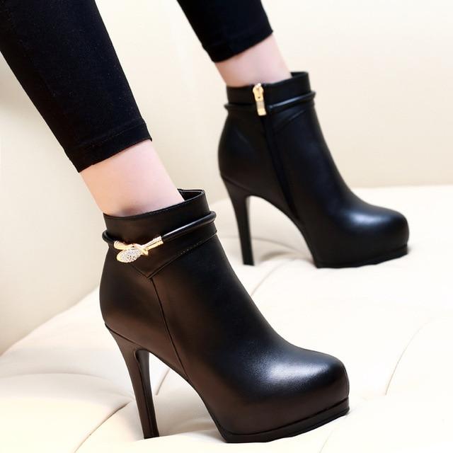 4205e660059 Las mujeres tobillo botas de plataforma tacones de aguja de cuero  Dropshipping. exclusivo. Las
