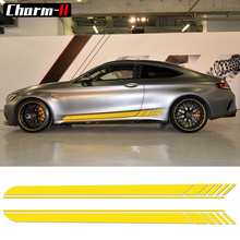 2 Pieces Skirt Sill for Mercedes Benz AMG Edition 1 C63 Coupe W205 Vinly Decal Side Stripes Stickers C200, C250 C300-6 colors