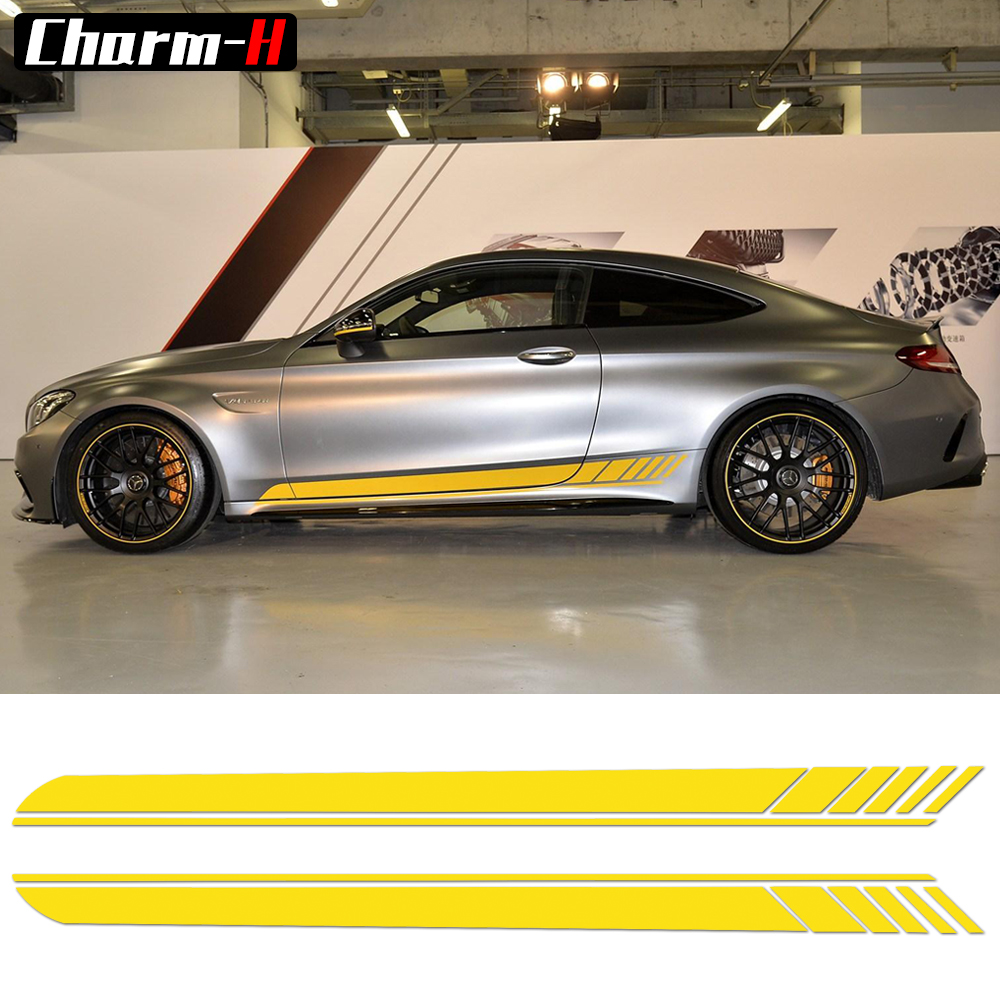 2 Pieces Skirt Sill for Mercedes Benz <font><b>AMG</b></font> Edition 1 C63 Coupe <font><b>W205</b></font> Vinly Decal Side Stripes Stickers <font><b>C200</b></font>, C250 C300-6 colors image