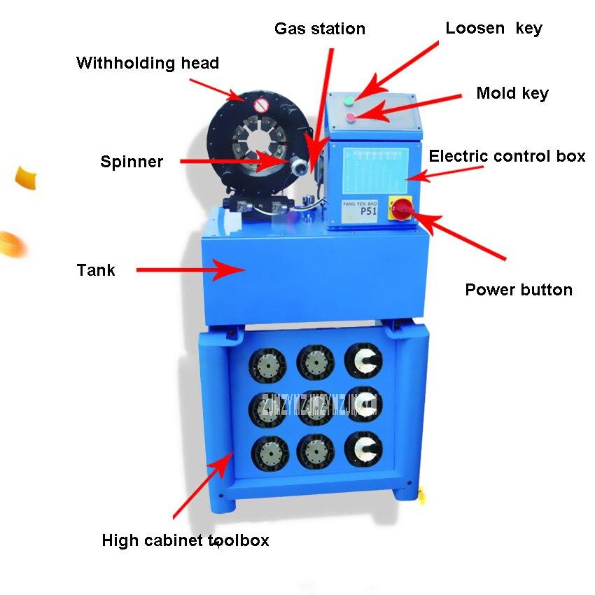 Купить с кэшбэком Upgraded P51 Buckle Press Machine Hydraulic Hose Pipe Presses Machine+10 sets molds,6-51MM,3KW,380V/220V Shrink Tube Machine