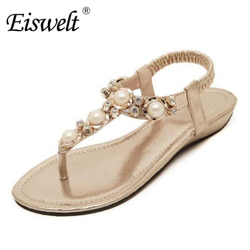 Eiswelt Summer Women Fashion Beading PU Leather Platform Pearl Wedges Sandals Female Shoes Sandals Woman 4 Colors Shoes#DZW20 phyanic 2017 gladiator sandals gold silver shoes woman summer platform wedges glitters creepers casual women shoes phy3323