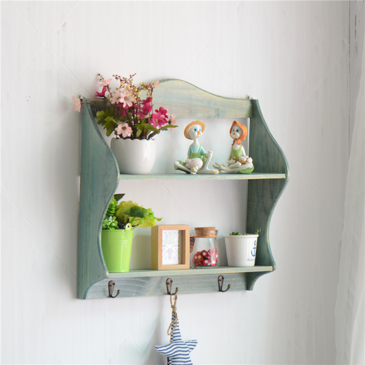 Rural Style Storage Rack Wall Shelf Hanging Rack 3 Hooks Home ...