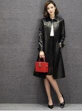 Woman branded genuine leather windbreak trench coats ladies natural sheepskin jackets black brown plus big oversized 2xl xxxl