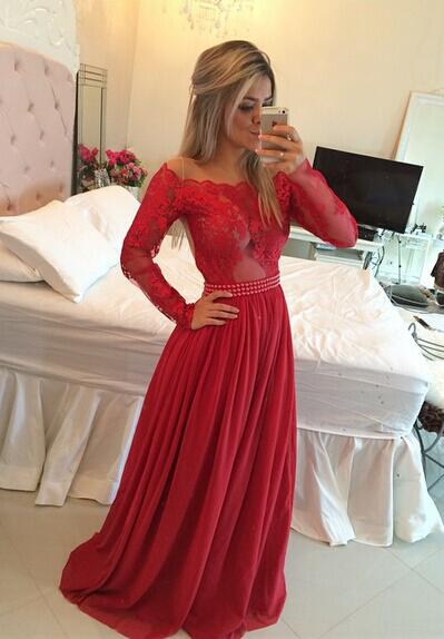 2019 Long Sleeves   Prom     Dresses   Chiffon Pearls Beaded Red Fuchsia Sheer A-line Evening Gowns