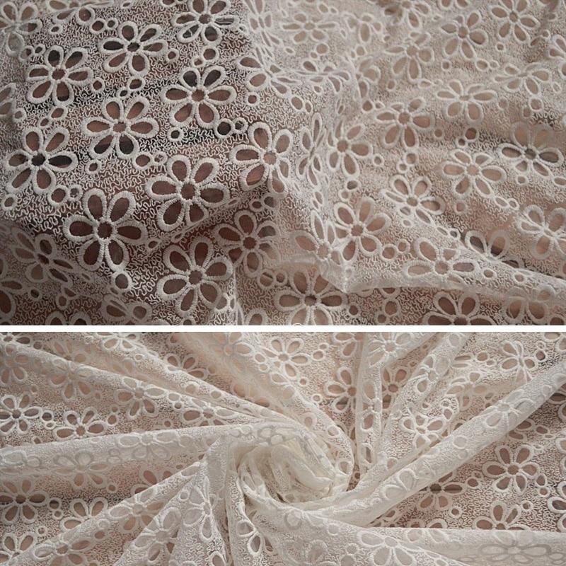 1166 15 De Réductiondentelle Tissu Blanc Coton Fleur Broderie Organza Mariage Tissu Pour Robe 12 M Largeur In Dentelle From Maison Animalerie