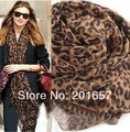 Wholesale Price and Freeshipping fashion accessories star design leopard wide scarf for autumn and winter 105*170cm