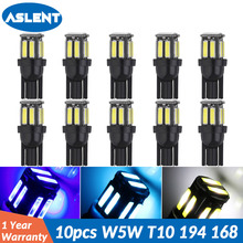 ASLENT 10Pcs Auto T10 Led Cold White 194 W5W LED 168 10SMD 7020 Car Super Bright Turn Side License Plate Light Lamp Bulb DC 12V aotomonarch 194 t10 led w5w white car super bright 2 smd automobile turn side license plate light lamp bulb led light lamp be