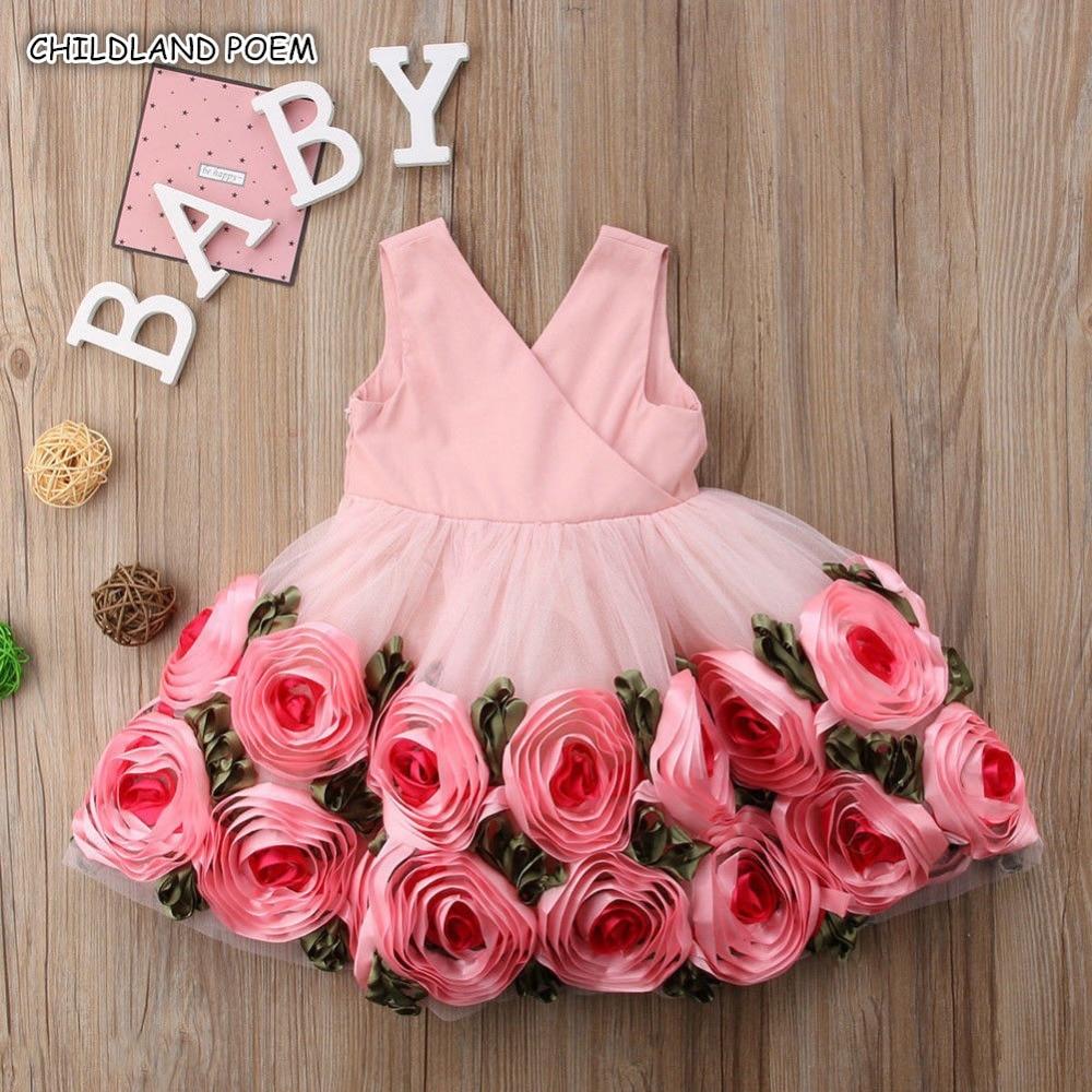 Kids   Dresses   For   Girls     Flower     Girls     Dress   Party   Girls   Clothes Princess Christmas   Dress   Gowns 3D Rose Floral vestidos infantil