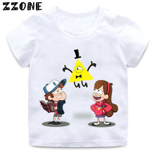 Boys and Girls Gravity Falls Cartoon Mabel Dipper Pine Print T shirt Kids Funny Clothes Enfant Summer White T-shirt,HKP2415 цена 2017
