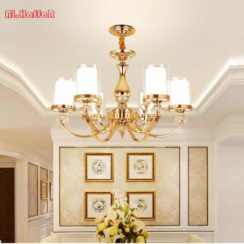 Modern new LED Gol color metal Crystal Chandeliers Lighting Led Pendant Chandelier Lighting Fixture Lamp For living room