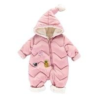 2018 New Autumn Winter Baby Rompers Inner Fleece Warm Hooded Long Sleeveed Jumpsuits Baby Onesie Winter Romper Bebes Clothes