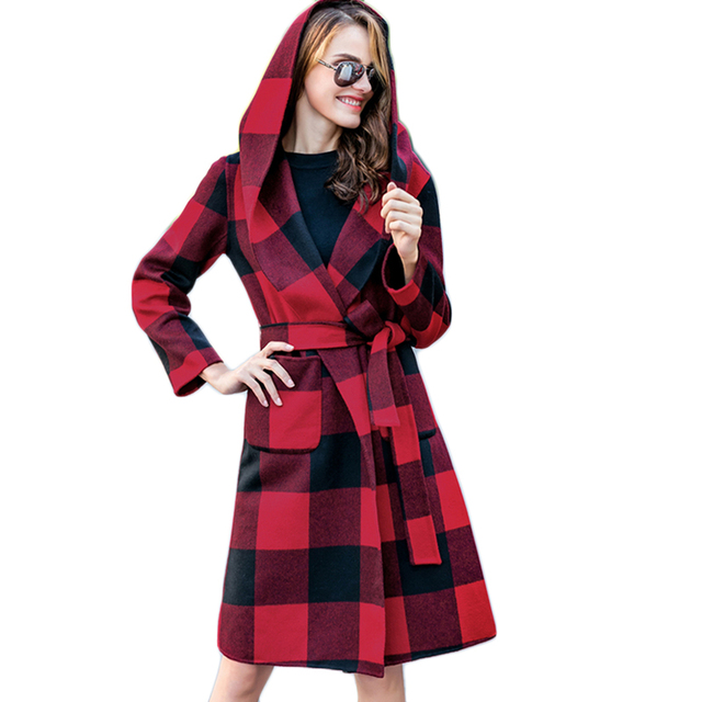 Women's Winter Wool Coat Hooded Female Cashmere Coats 2017 Spring Ladies Long Dust Coats Women's Thick Warm Jacket Parka F1859