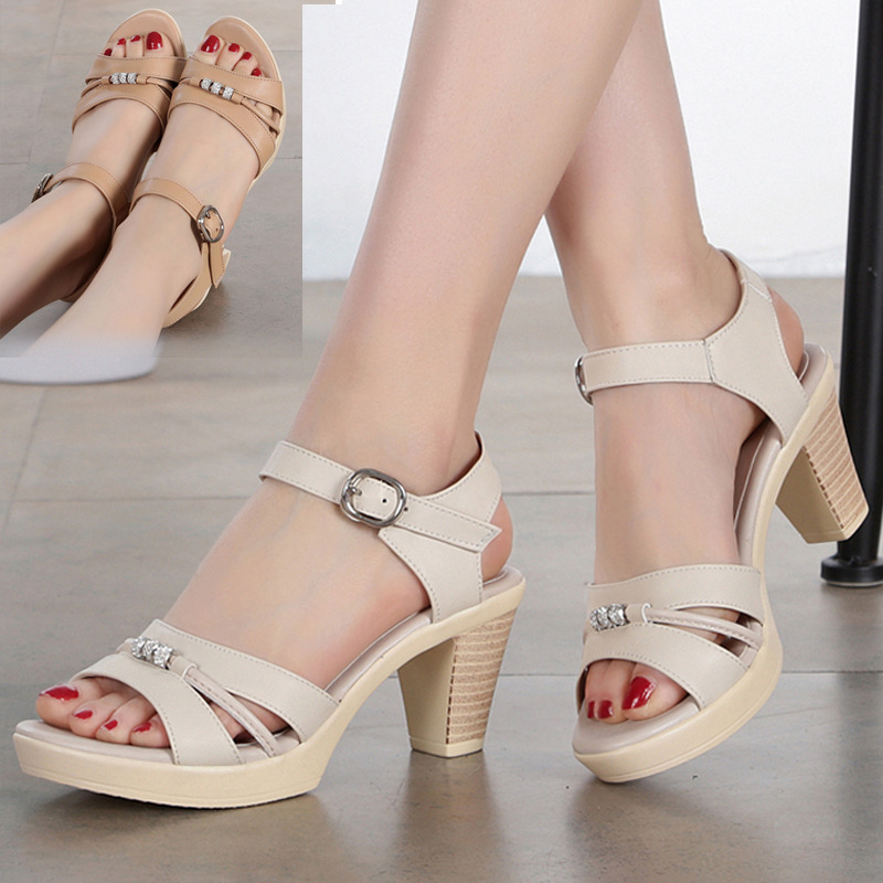 ZXRYXGS Brand Sandals Summer Women Shoes Sandals 2019 New fashion Rhinestone High Heel Sandals Real Leather Shoes Woman Sandals