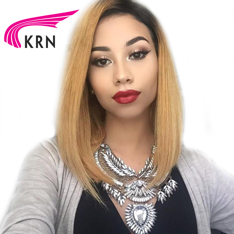 KRN Ombre Color Short Bob Lace Front Human Hair Wigs With Baby Hair Straight Pre Plucked Brazilian Lace Front Wigs For Women