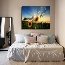 Sunflowers Field at Dusk Decor Wall Art Poster Print Canvas Painting Calligraphy Decorative Picture for Living Room Home