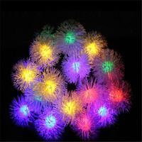 Solar Christmas Holiday Snow Flakes LED String Lights DIY Winter Snowball Outdoor Waterproof Party Decor Lightings
