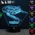 3D Illusio Star trek 2 Noche De Luz RGB Cambiable Mood Lamp LED decorativa lámpara de mesa de luz dc 5 v usb conseguir un free control remoto