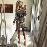 Gold Sequin Dress Clothing Clothes Women Long Sleeve Women Clothing Fashion Glitter Elbise Vestido De Festa Kleider Damen
