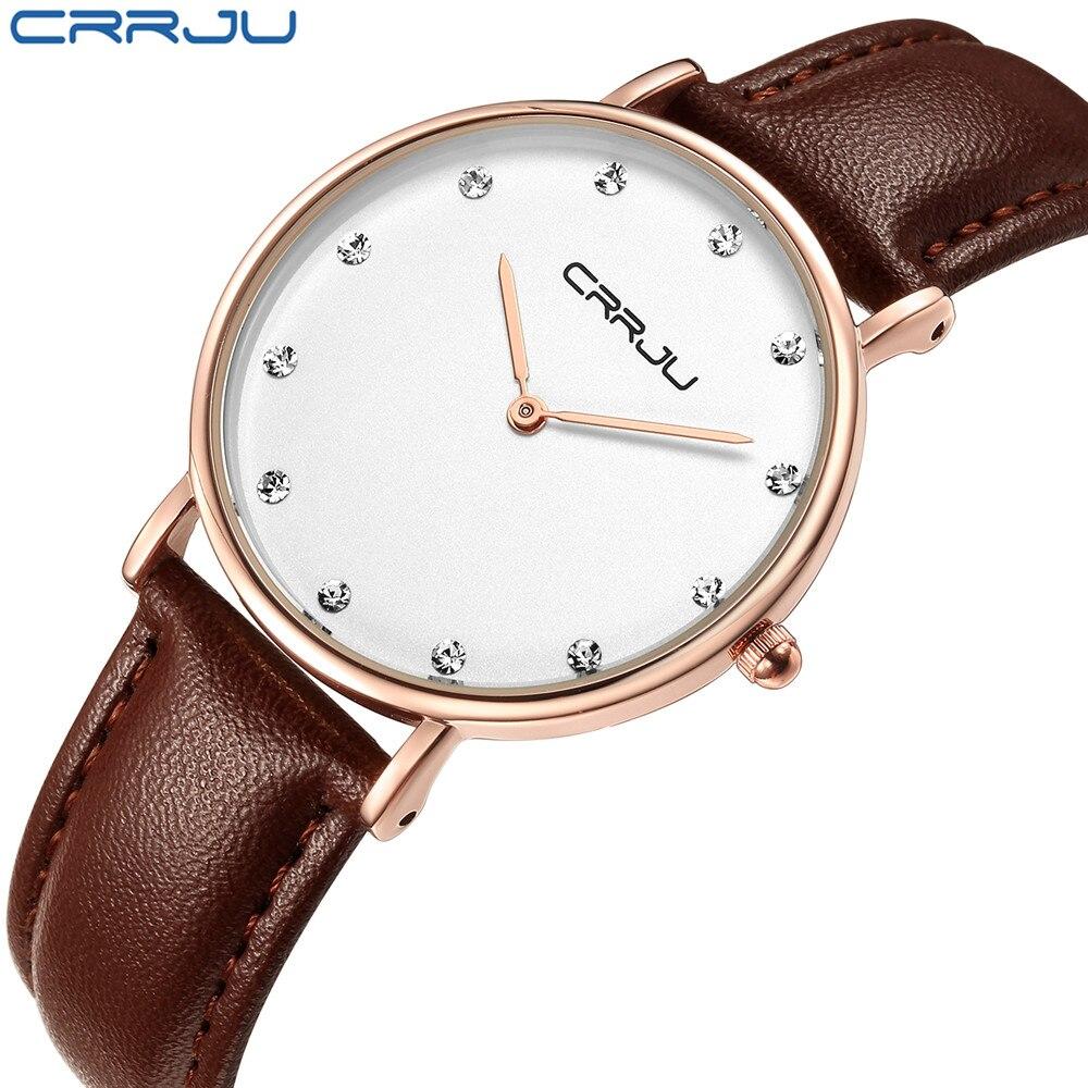 2018 CRRJU Lady Quartz Brand Rhinestone Watches Women Luxury Antique Classical Leather Dress Wrist Watch Relogio Feminino Montre