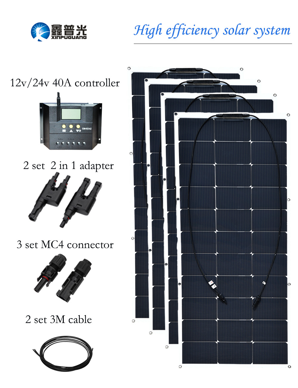 400w 16v New Flexible Solar Panel Cell 12v 24v 40A Controller 2 in 1 Adapter MC4 Connector Cable for 12v Battery RV Yacht Boat