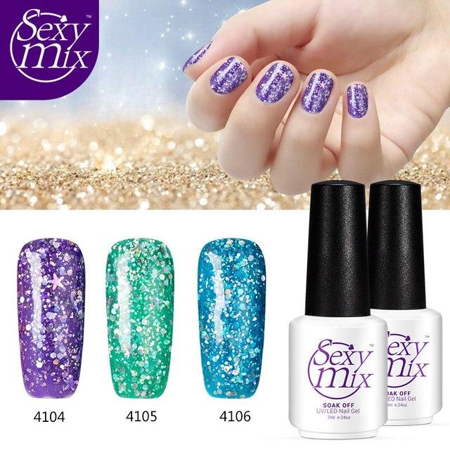 Ymix 3pcs Pack 12 Colorful Shining Glitter Gel Nail Polish 2017 Hot New Semi