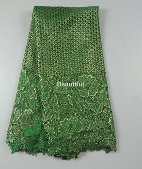 2016 super deal green African cord lace fabric net lace Vintage bronzed cord guipure lace fabric for dress/ clothing 5 yards