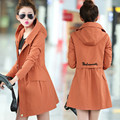 Women Trench Coat 2016 Spring Autumn Women's Overcoat Female Long Hooded Coat Zipper Plus Size Slim Was Thin Cotton Outwear C201