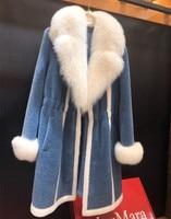 Winter Sheep Shearling Jacket Real Wool Coat Women's Natural Fox Fur Collar Cuffs Warm Fur Coats Outwear