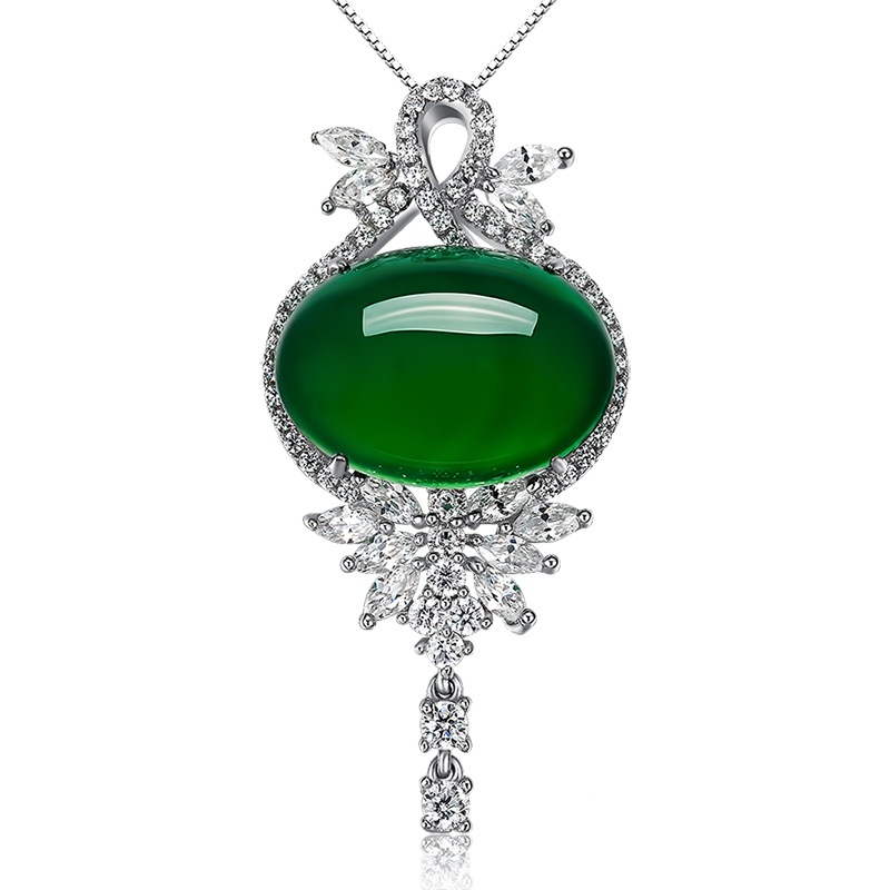 Oval Emerald Green Pendant Agate For Women Sliver S925 Necklace Jade Pendant Ornaments Emerald Bizuteria Turquoise Gemstones