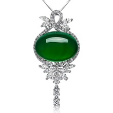 Oval Emerald Green Pendant Agate for Women Sliver S925 Necklace Jade Ornaments Bizuteria turquoise Gemstones