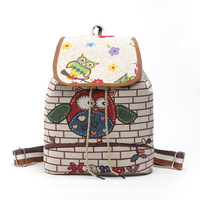 2017 Cute Owl Elephant Backpack Women Canvas Backpack Drawstring Printing Backpacks For Teenage Girls Large Capacity