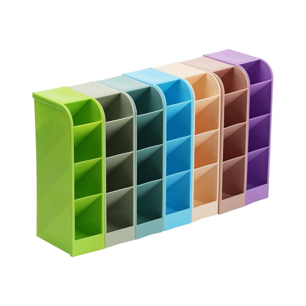 1pc Plastic Desk Organizer Desktop Office Pen Pencil Holder Makeup Storage Tray Pen Box Drawer Storage Office Supplies