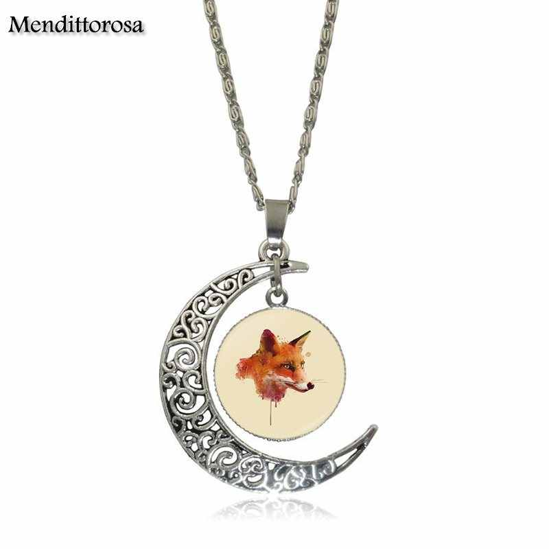 Mendittorosa biżuteria w stylu Vintage posrebrzane z szkło Cabochon półksiężyc Choker długi wisiorek naszyjnik dla kobiet lisa