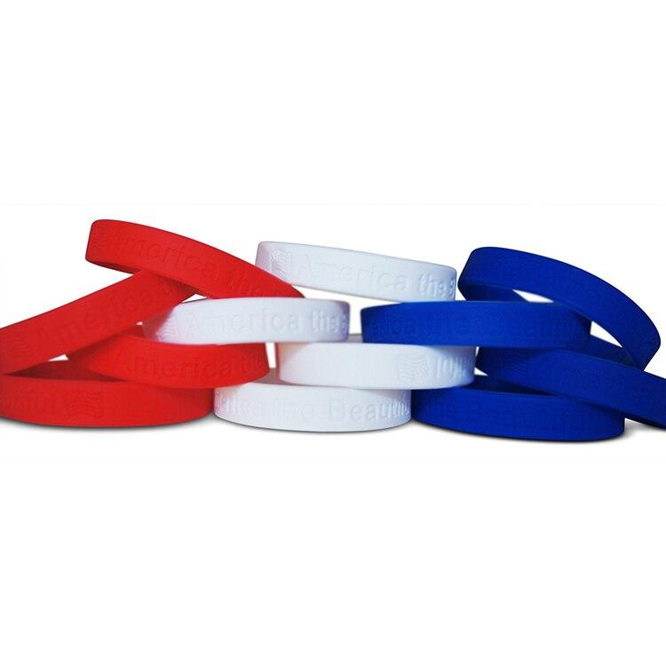 100 Pz America The Beautiful Red White & Blue Wristband Del Silicone Del Braccialetto Spedizione Gratuita
