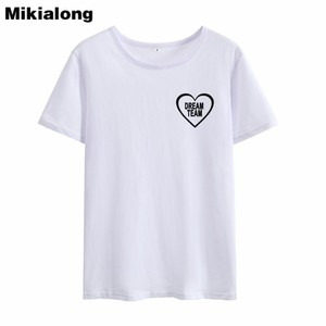 Mrs win DREAM TEAM Cute Heart Shape Tshirt Women Ulzzang Korean Style Bff T-shirt Short Sleeve Loose Basic Summer Women Tops