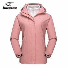 LXIAO Winter Jacket Women Waterproof  2 Pieces Softshell Fleece Windbreaker Female Outdoor Hiking Coat
