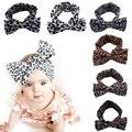 Vendas elásticos para el Bebé Niñas Adornos Para El Cabello Accesorios Headwear Leopard Vendaje en la Cabeza de Los Niños Dots Bow Medias 2016 Nuevo