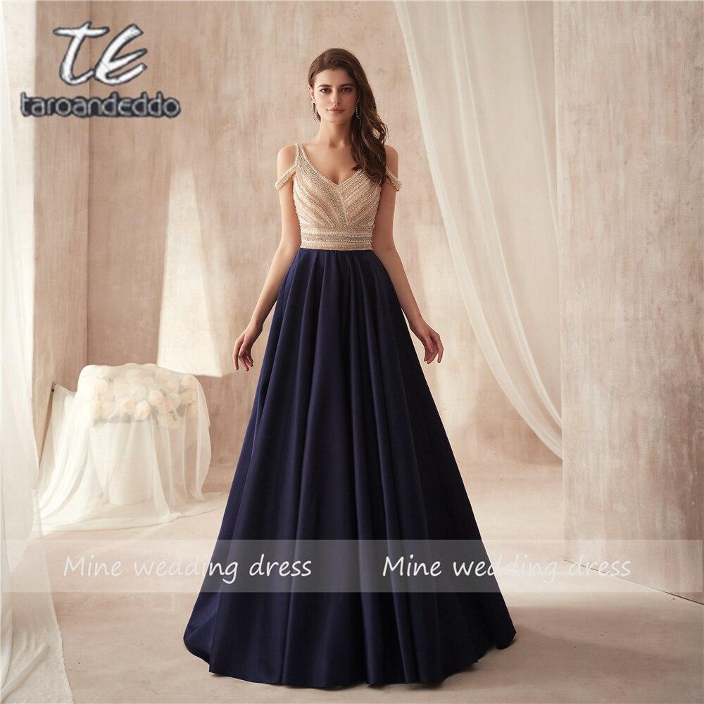 Off the Shoulder Two Stones Beading Bodice A line Dark Blue Matte Satin Prom Dress Elegant