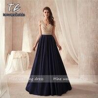 С открытыми плечами два камня Бисероплетение лиф А силуэт темно синий матовый атлас платье для выпускного вечера Элегантное длинное вечерн